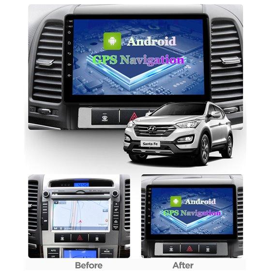 Navigatie Android 8.1 Hyundai Santa Fe 2006-2012 Ecran 9 inch IPS Led NAVD-E9013