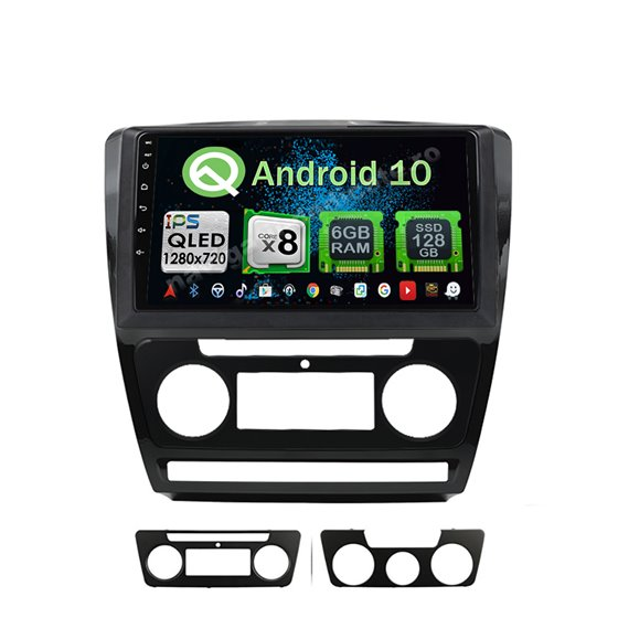 Navigatie Carplay Android 10 Skoda Octavia 2 Facelift Octa Core 6GB Ram 128GB SSD Ecran 9 inch NAVD-US10725