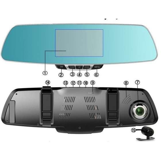 "Oglinda cu DVR FullHD ecran capacitiv 5"" navigatie android internet"