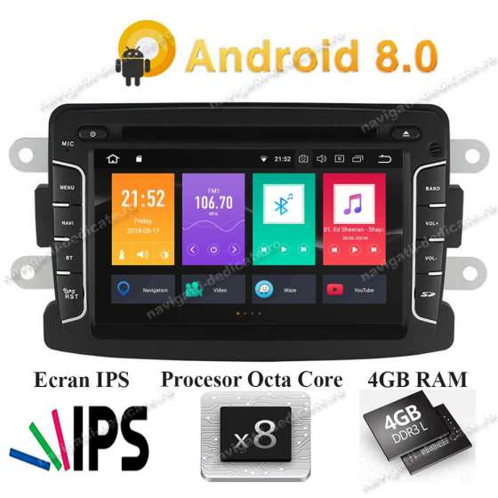 Navigatie Android 8.0 Octa Core 4GB Ram DACIA LOGAN DUSTER LODGY SANDERO PX5 NAVD-P5157