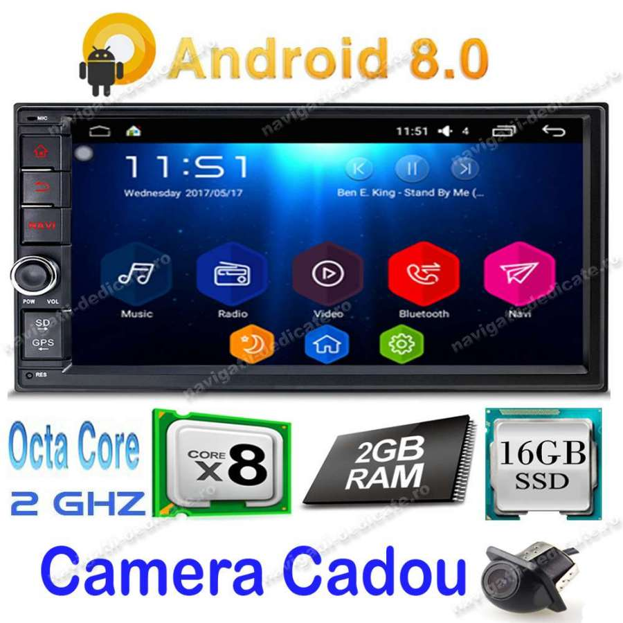 NAVIGATIE 2DIN UniveNAVIGATIE 2DIN Universala Android 8.1 Octa Core USB NAVD-T7200 V2