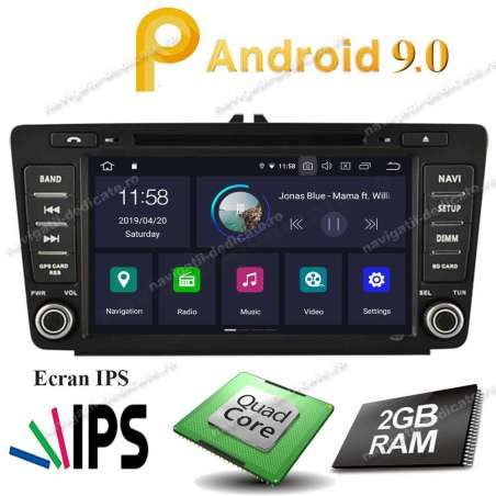 """Navigatie Android 9.0 SKODA OCTAVIA 2 ECRAN 8"""" IPS 2GB Ram NAVD-MT9725"""