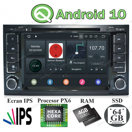 NAVIGATIE Android 10 PX6 4GB Ram 64GB SSD VW TOUAREG MULTIVAN NAVD-P9200
