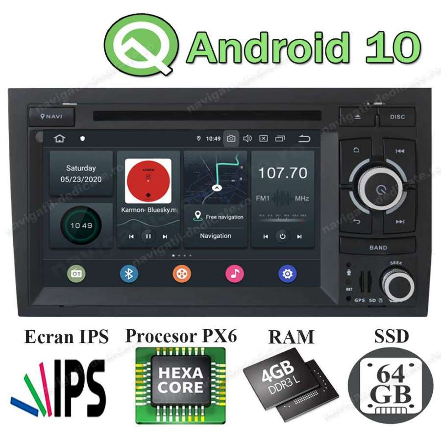 Navigatie Android PX6 4GB Ram 64GB SSD Audi A4 B6 B7 SEAT EXEO NAVD-P050