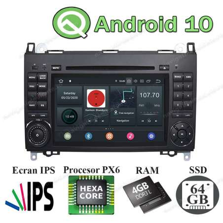Navigatie Android 10 PX6 4GB Ram 64GB SSD Mercedes Benz A B Class Vito Viano Sprinter NAVD-P068
