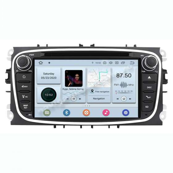 Navigatie Android 10 PX6 4GB Ram 64GB SSD Ford Focus Mondeo S-Max Rama Neagra NAVD-P9457BK