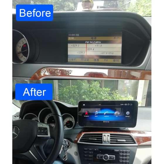 Monitor Navigatie Android Mercedes C Class W204 S204 NTG 4.5 Ecran 10.25 inch Waze Carkit USB NAVD-Z1003B
