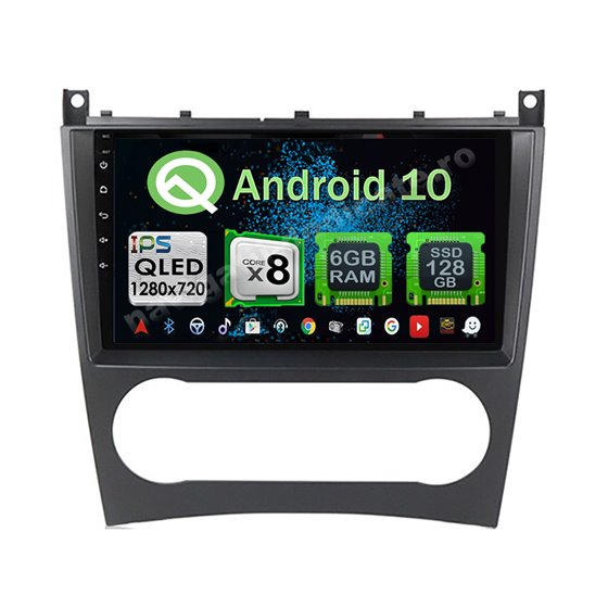 Navigatie Carplay Android 10 Mercedes BENZ C W203 2005-2007 Octa Core 6GB Ram 128GB SSD Ecran 9 inch NAVD-US9018