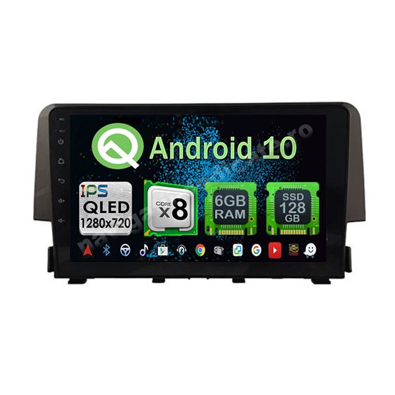 Navigatie Carplay Android 10 Honda Civic 2016 Octa Core 6GB Ram 128GB SSD Ecran 9 inch NAVD-US9038
