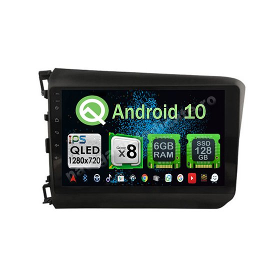 Navigatie Carplay Android 10 Honda Civic 2012-2015 Octa Core 6GB Ram 128GB SSD Ecran 9 inch NAVD-US9039