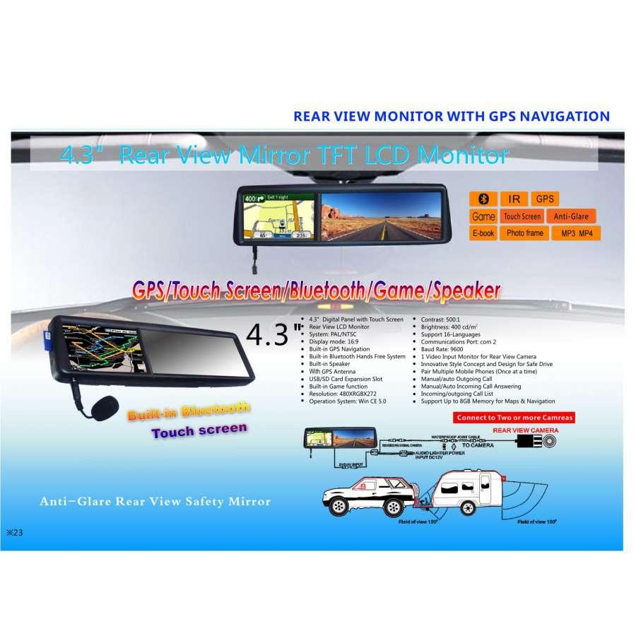 Oglinda Retrovizoare Lcd 3 5 Touchscreen Gps Bluetooth